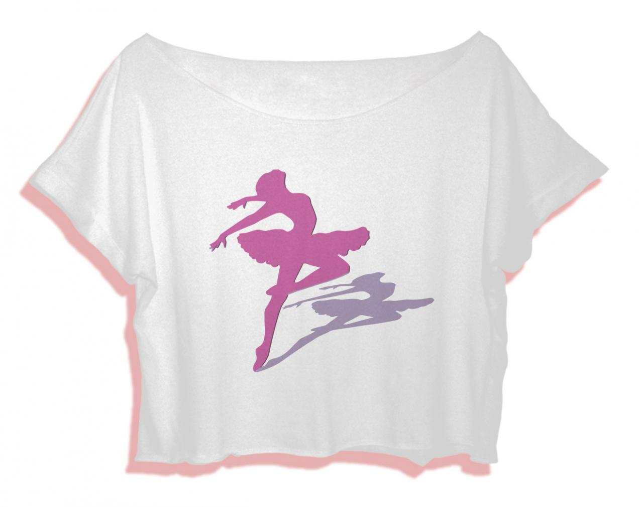 ballerina dancing shirt women crop top ballerina style crop tee ballet t-shirt all size black white Pinterest Tumblr