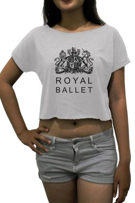 royal ballet shirt women's crop tee dance white black sport grey