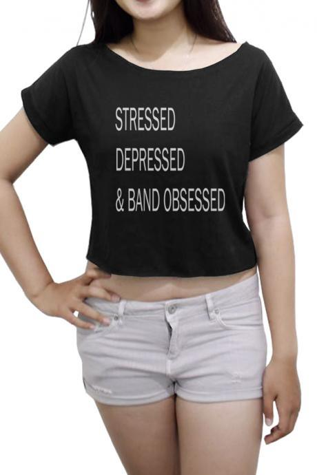 Black Graphic Cropped Top Featuring 'Stressed Depressed & Band Obsessed' Slogan and Bateau Neckline
