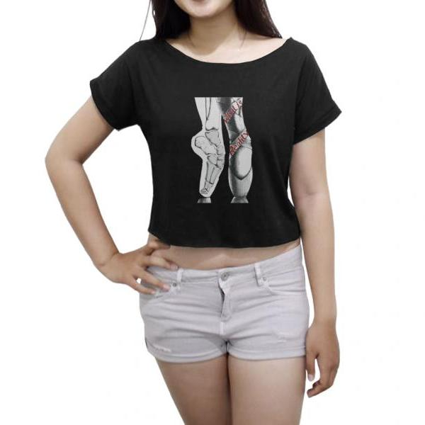 Pointe Skull Shirt Women Crop Top Ballet Tee Shirt Dance Crop Tee